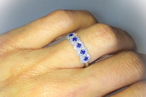 Lab Sapphire 5 Stone Round Brilliant Diamond Wedding Band 18kt White Gold