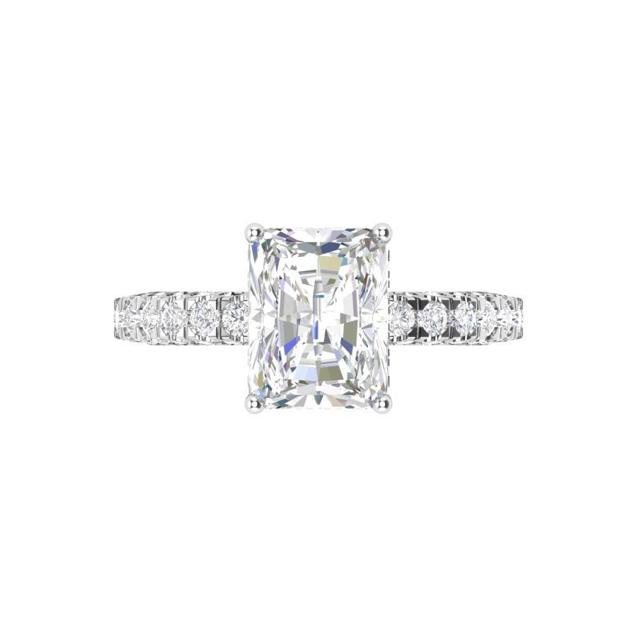 Moissanite Radiant Engagement Ring 14kt White Gold