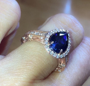 Lab Sapphire Pear Shape Engagement Ring 18kt Rose Gold