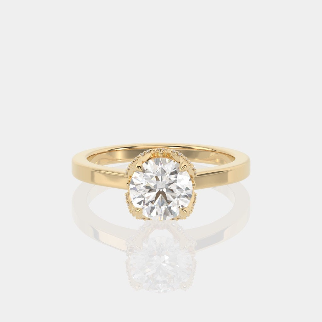 Forever One Moissanite Round Engagement Ring 14k Yellow Gold