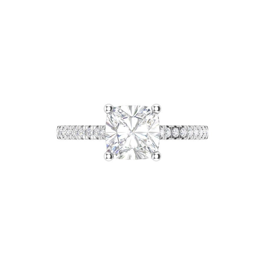 Moissanite Cushion Diamond Engagement Ring 14kt White Gold