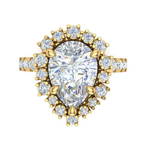 Moissanite Pear Shape Engagement Ring 18kt Yellow Gold Ring
