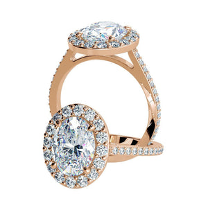 Moissanite Oval Diamond Engagement Ring 14kt Rose Gold