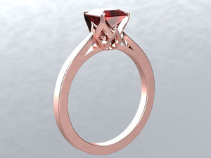 Lab Ruby Princess Cut Engagement Ring 14k Rose Gold Engagement
