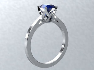 Lab Sapphire Round Engagement Ring 14kt White Gold