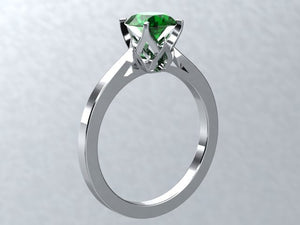 Lab Emerald Round Brilliant Engagement Ring 14kt White Gold