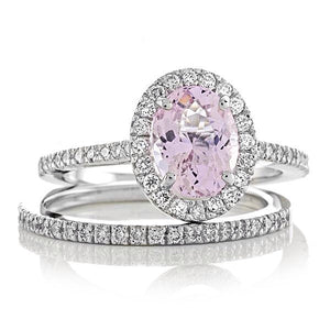 Pink Morganite Oval Diamond Engagement Ring Set 14kt White Gold