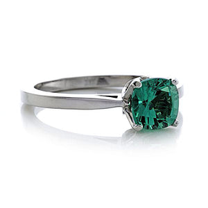 Lab Emerald Cushion Cut Engagement Ring 14kt Gold