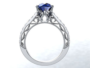 Lab Sapphire Round Brilliant Diamond Engagement Ring 14kt White Gold