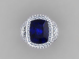 Lab Sapphire Long Cushion Cut 3 Stone Diamond Engagement Ring 14kt White Gold