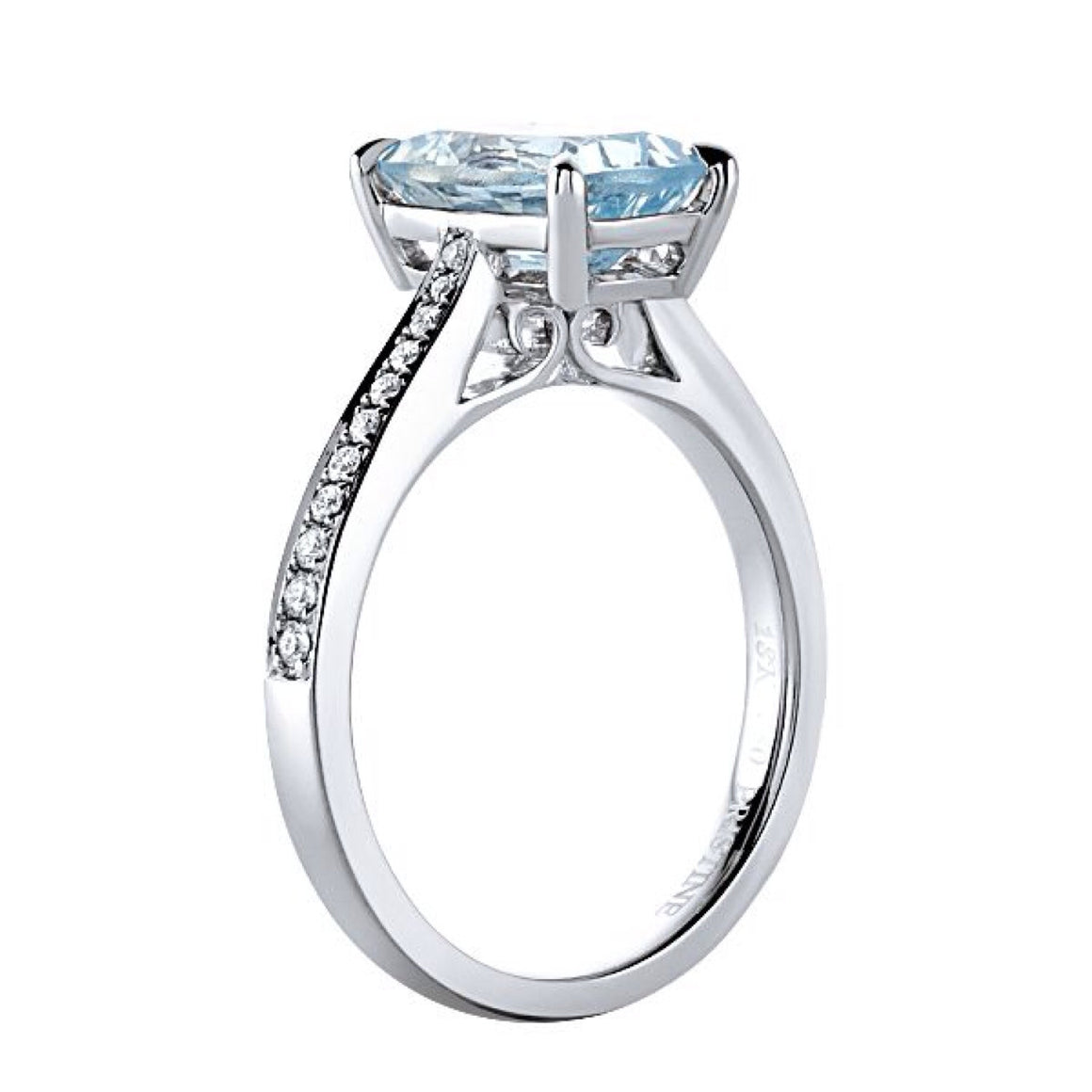 Aquamarine Ring Cushion Cut Diamond Engagement Ring 14kt White Gold