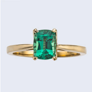Lab Emerald Long Cushion Cut Engagement Ring 14kt Yellow Gold