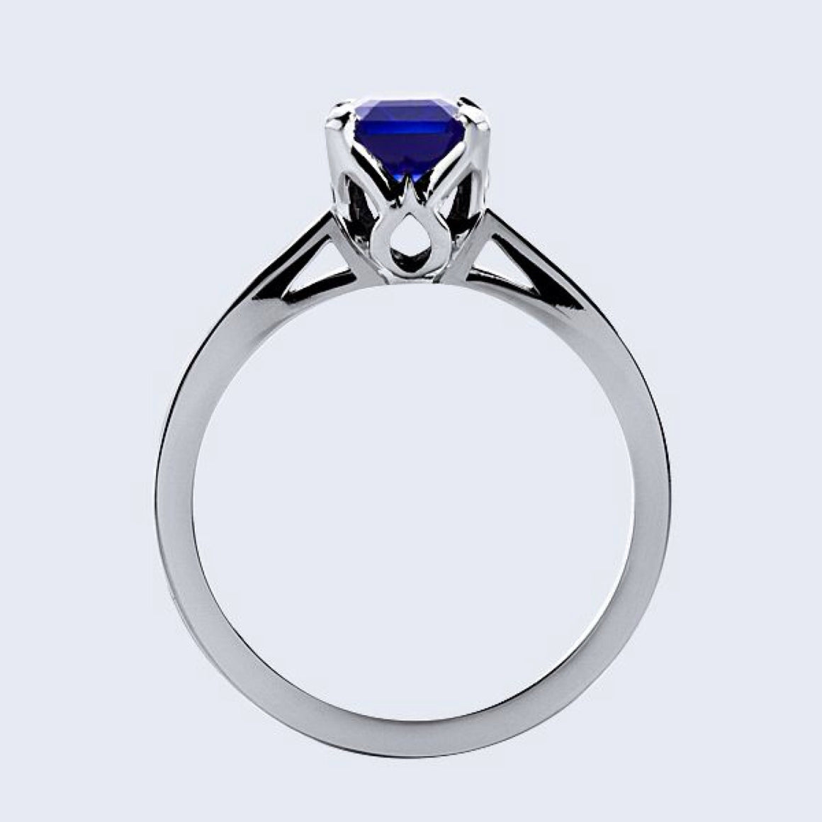 Lab Sapphire Emerald Cut Diamond Engagement Ring 14kt White Gold