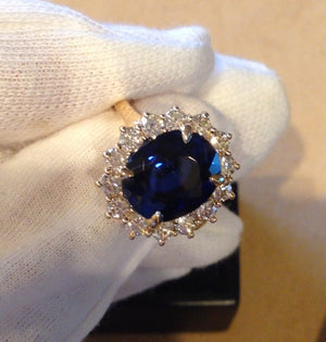 Lab Sapphire Oval Diamond Engagement Ring 14kt Yellow Gold
