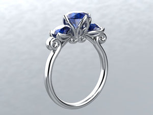 Lab Sapphire 3 Stone Round Engagement Ring 14kt White Gold