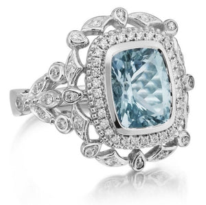 Aquamarine Cushion Cut Diamond Engagement Ring 18kt White Gold