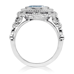 Aquamarine Cushion Vintage Diamond Engagement Ring 18k White Gold