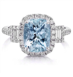 Aquamarine Cushion Cut Diamond Engagement Ring 14kt White Gold