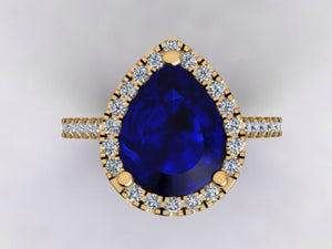 Lab Sapphire Pear Diamond Engagement Ring 18k Yellow Gold