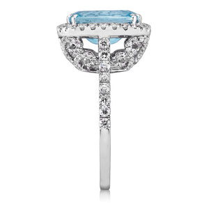 Aquamarine Cushion Cut Butterfly Diamond Engagement Ring 14kt White Gold