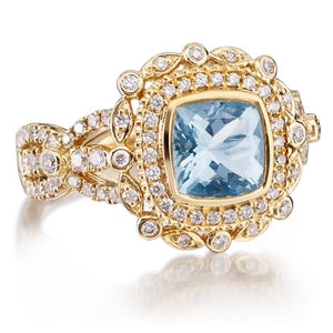 Aquamarine Cushion Cut Art Deco Diamond Engagement Ring 18k Yellow Gold