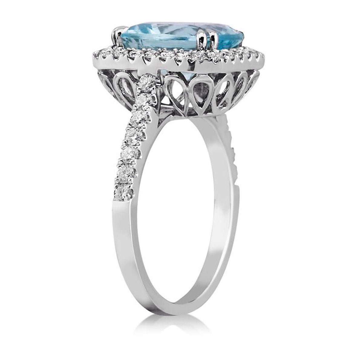 Aquamarine Radiant Diamond Engagement Ring 14kt White Gold
