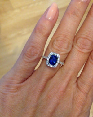 Lab Sapphire Cushion Cut Diamond Engagement Ring 14K White Gold Ring