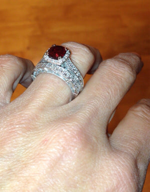 Lab Ruby Cushion Cut Engagement Ring 14kt White Gold