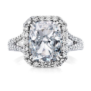 Lab White Sapphire Cushion Cut Diamond Engagement Ring 18kt White Gold