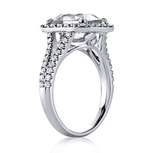 Lab White Sapphire Diamond Engagement Ring 18kt White Gold