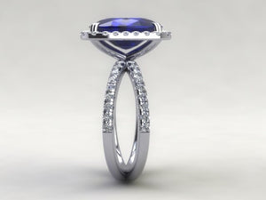 Lab Sapphire Long Cushion Cut Engagement Ring 14kt White Gold
