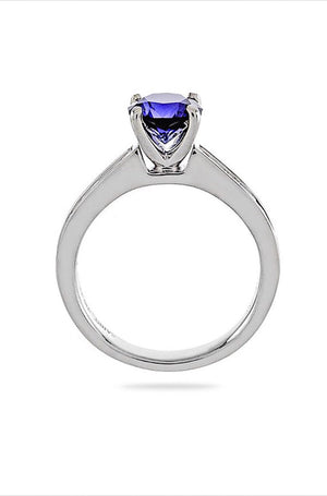 Lab Sapphire Brilliant Round Diamond Engagement Ring 14kt White Gold