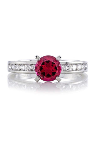 Lab Ruby Round Diamond Engagement Ring 14kt White Gold