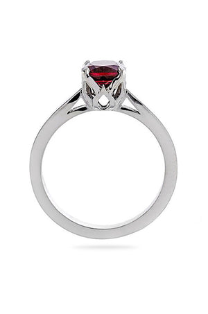 Lab Ruby Cushion Cut Engagement Ring 14kt Gold