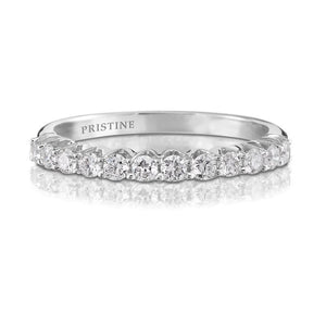 18k White Gold Diamond Wedding Band Round .34ct FVS2 Diamonds Prong Set Ring Diamond Band Wedding Band Anniversary Pristine Custom Rings