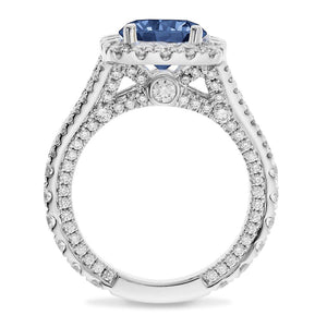 Lab Sapphire Round Diamond Engagement 18kt White Gold