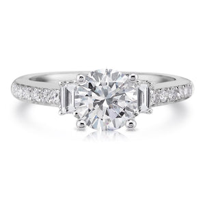 Forever One Moissanite and Diamond 3 Stone Engagement Ring 2.40ct 18kt White Gold