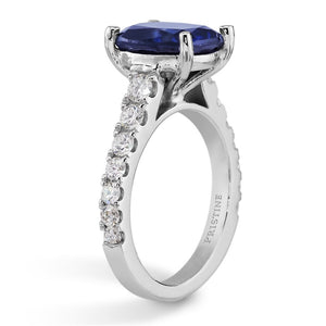 Sapphire Engagement Ring 3.25ct Antique Cushion Cut Sapphire Ring .68ct Diamonds Prong Setting White Gold Birthstone Pristine Custom Rings