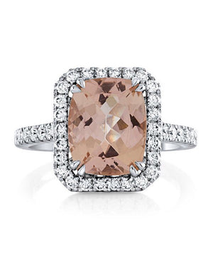 Morganite Diamond Engagement Ring 14kt White Gold