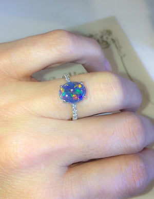 Natural Triplet Opal Diamond Ring 18kt White Gold