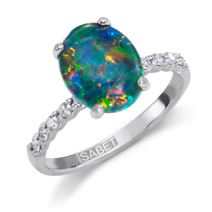 Natural Oval Triplet Opal Engagement Diamond Ring 18kt Gold