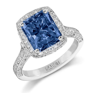 Lab Sapphire Elongated Cushion Cut Diamond Engagement Ring 18k White Gold
