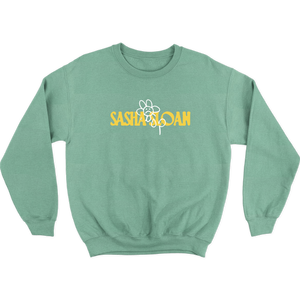 FROWNY FLOWER CREWNECK GREEN