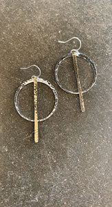 Stick and Circle Two Tone Earrings