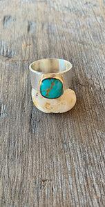 Square Kingman Turquoise Ring