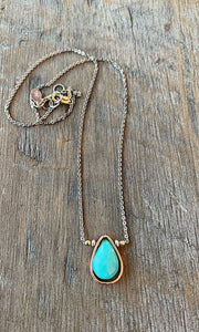 Two Tone Faceted Turquoise Necklace