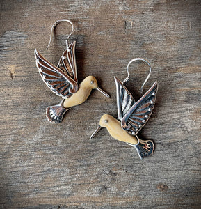 Fossilized Ivory Hummingbird Earrings