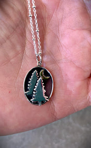 Trees and Moon Necklace