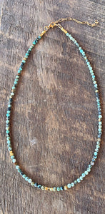 Turquoise and Gold Bead Strand Necklace