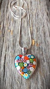 Venetian Glass Heart Necklace